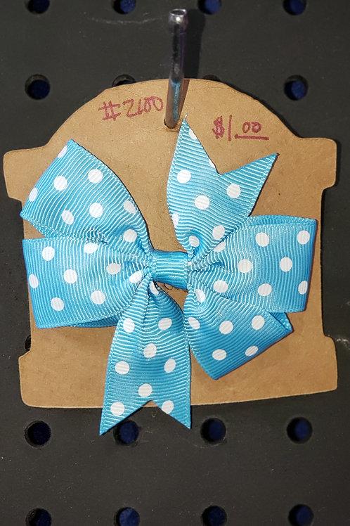 Blue Polka Dot Bow Hair Clip