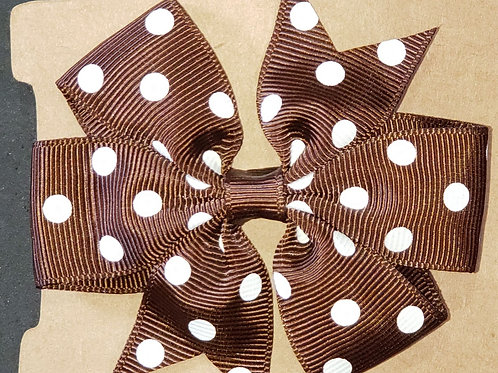Brown Polka Dot Hair Bow