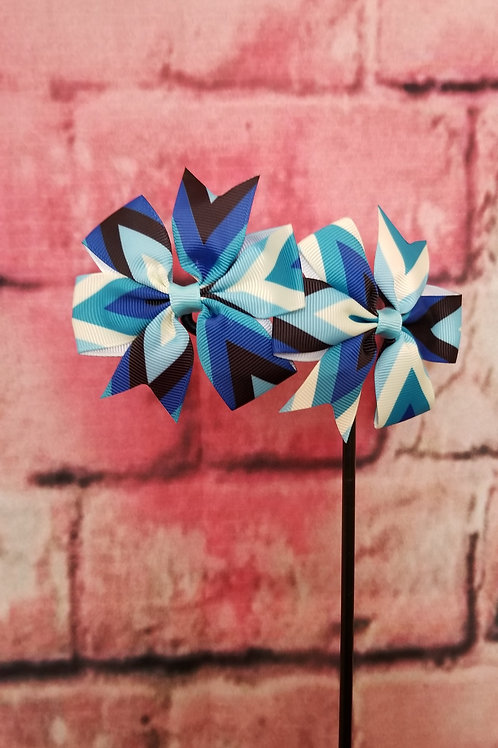 Blue and Black Multi-color Bow Set