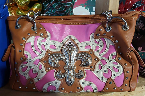 Pink and Tan Fleur de lis Conceal Carry