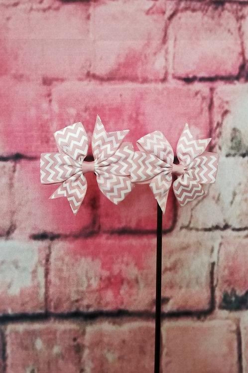 Pink Chevron Print Bow Set