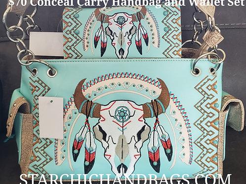 Southwest Steer Skull Embroidered Conceal Handbag and Wallet Set