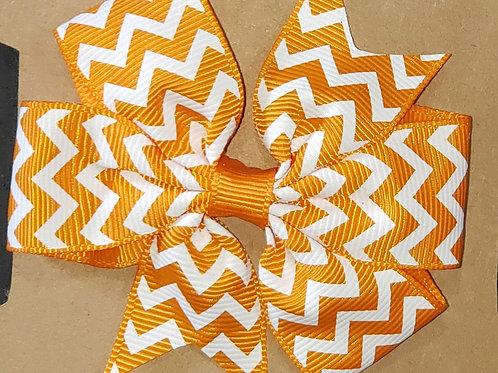 Orange Chevron Print Bow Hair Clip