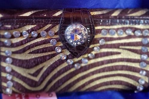 Zebra Print Brown & Gold Wallet