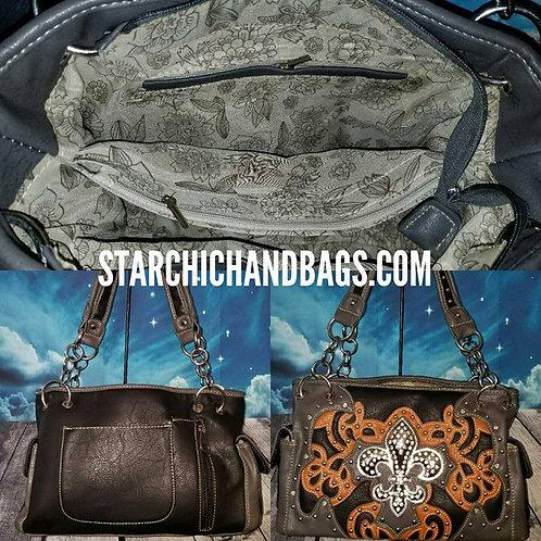 Black Fleur De Lis Conceal Carry Handbag