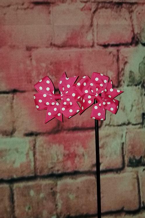 Dark Pink Polka dot Bows Set