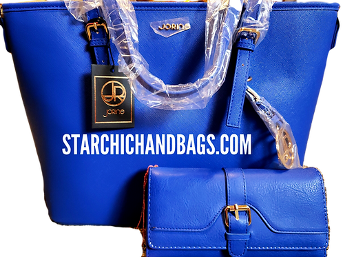 Concealed Carry Double Pocket Fashion Saffiano Tote Bag-Blue