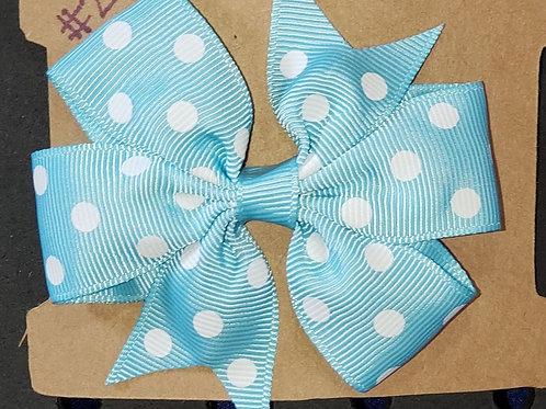 Lt Blue Polka Dot Bow with Clip
