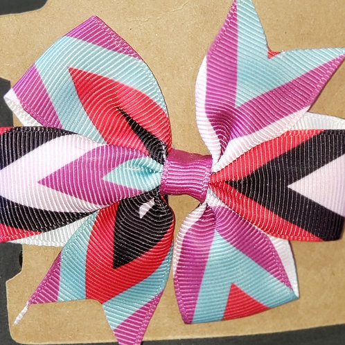 Black with Multi color Stripe Bow with Clip