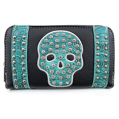 Rhinestone Skull Wallet (Black)