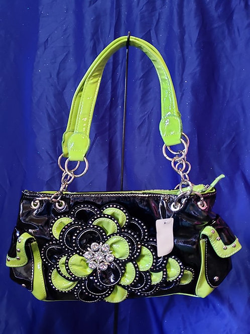 Black Green Rhinestone Flower  Handbag