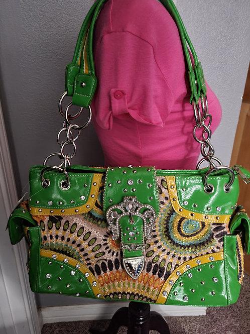 Green Buckle Swirl Handbag