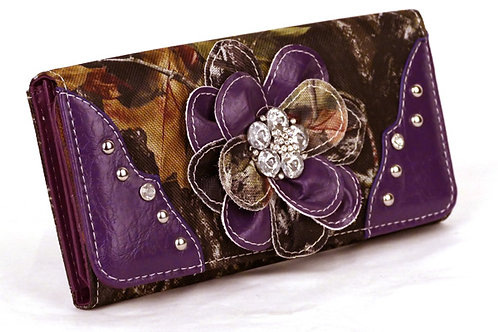 Western tri-folder Purple Camouflage Flower Wallet