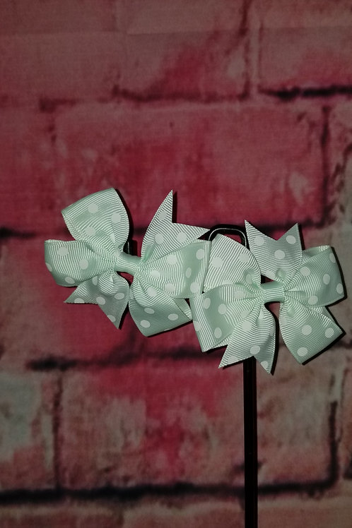 Mint Polka dot Bows Set