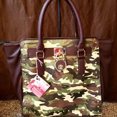 Fashion Camo Lock Handbag