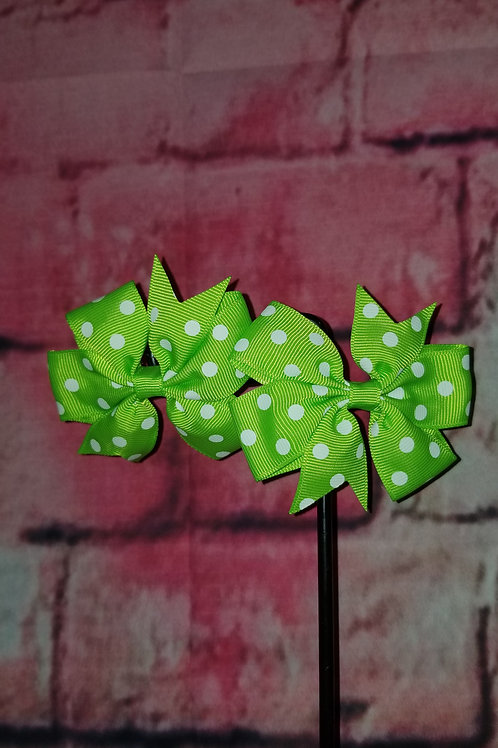 Green Polka dot Bows Set