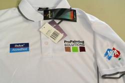 Multiple logos on work wear polo