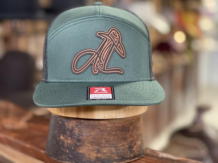 AL Logo Leather patch ( Moss/ Black)
