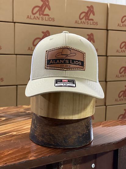 AL Minnick Leather Patch Cap (tan/white)