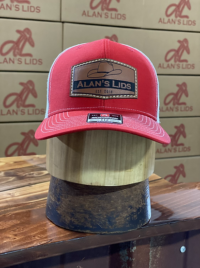 AL Minnick Leather Patch Cap (red/white)
