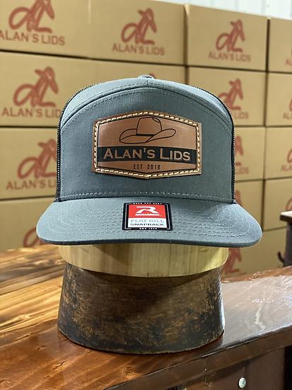 AL Minnick Leather Patch Cap (charcoal gray/black)