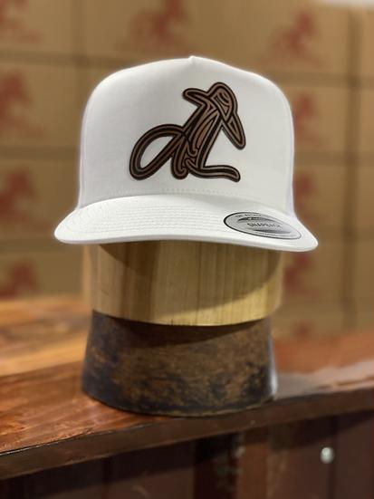AL Logo Leather Patch Cap (white/white)