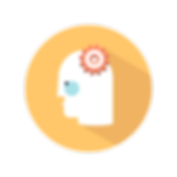 Icon image of person with gears for thinking that stands for Training
