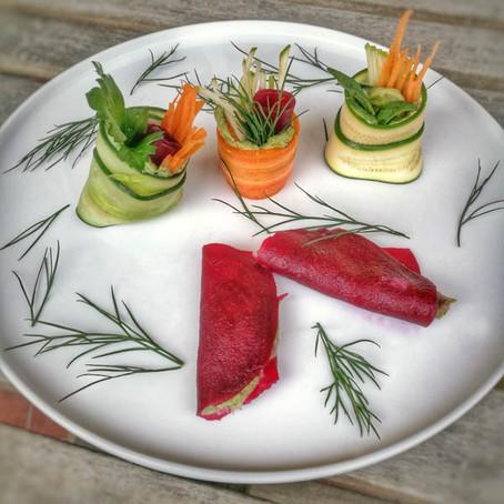 Roulés de légumes au fromage de pesto (vegan)