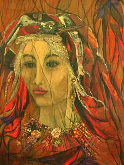 Gypsy - 14x18, acrylic mixed media