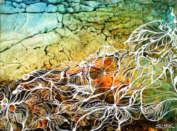 Roots - The Threads of Life - acrylic on yupo paper