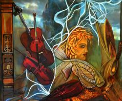 The Violinist - 24 x 18 - acrylic, mixed media