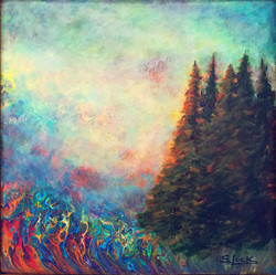 Natures Eraser Wild Fires 16x16 Acrylic
