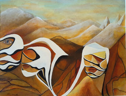 Sands of Time - 24 x 18 water color acrylic