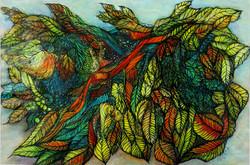 Rainforest - 21x15, acrylic ink - Oct 2019