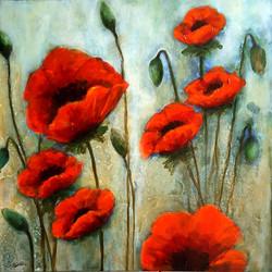 The Poppies - 24x24, acrylic