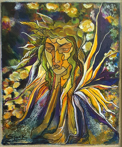 Flower Fairy - 14 x 16, acrylic, mixed media