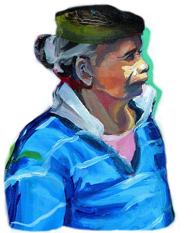Elvira Martos Shopping woman painting acrylic portrait