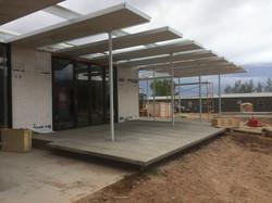 cantilevered concrete patio