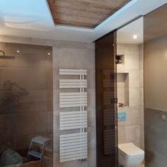 Duschwand und Schiebeelement für WC-Bereich aus getöntem Glas