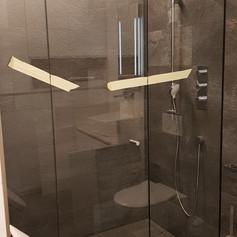 Lineare Duschwand mit Pendeltür