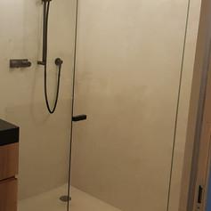 Lineare Duschwand mit Tür und linearer Haltestange