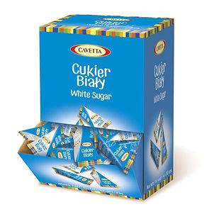 White sugar in the pyramids in the dispenser 500 pcs