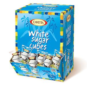 Regular white sugar cubes  packaged in foil