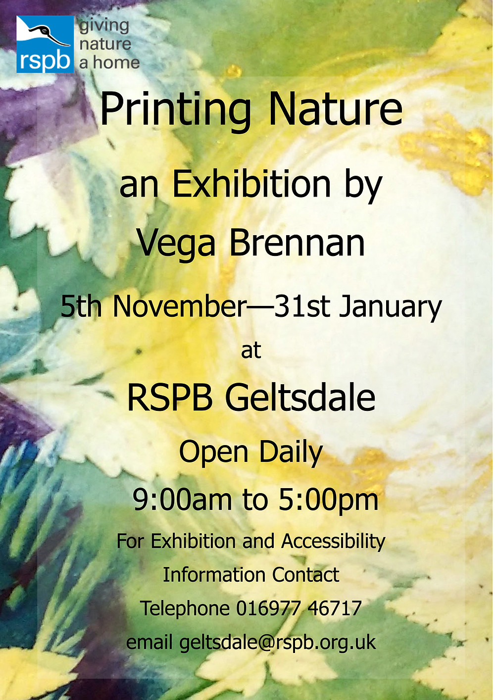 RSPB Geltsdale Printing Nature exhibition poster