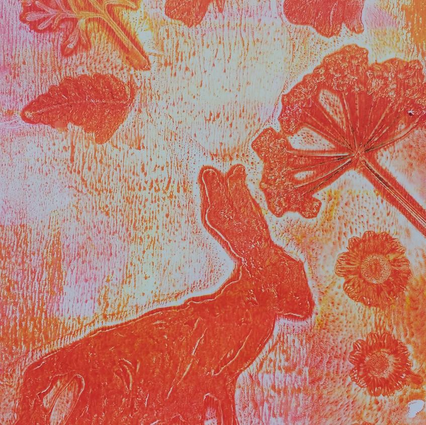 D Gelatine plate printing hare