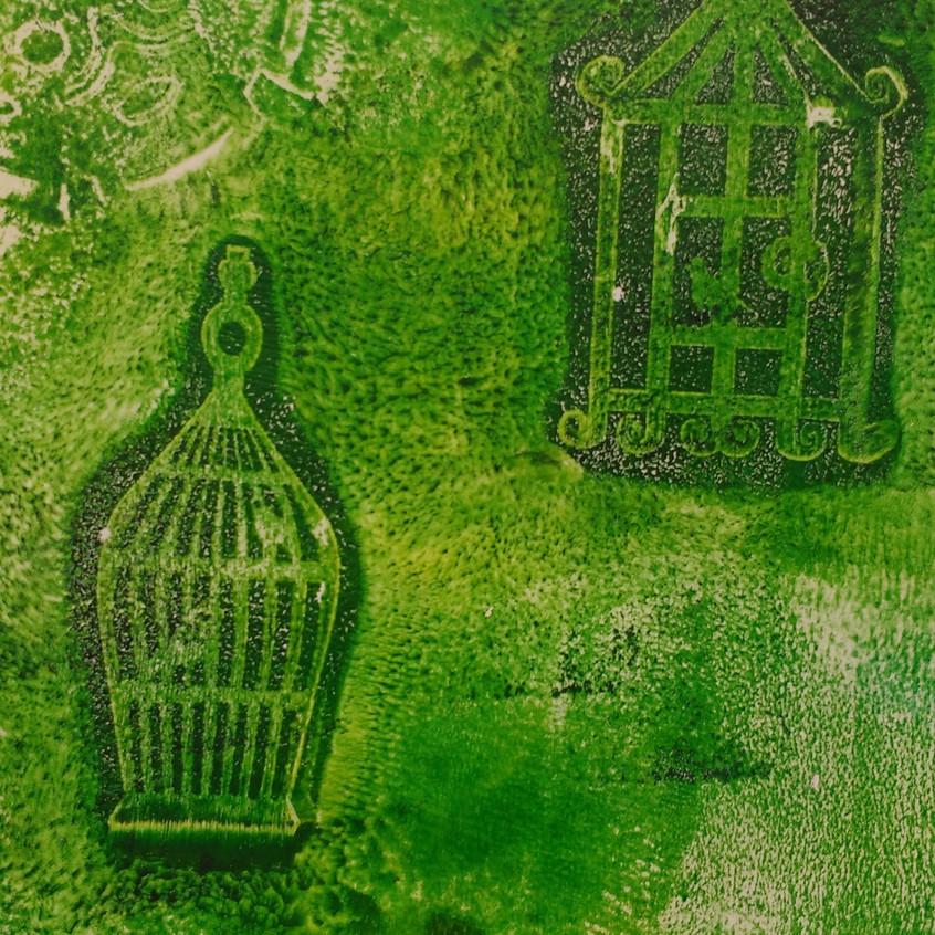 D Gelatine plate printing bird cages
