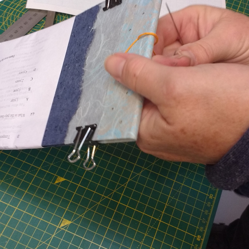 B Stitching the landscape stab-bound book