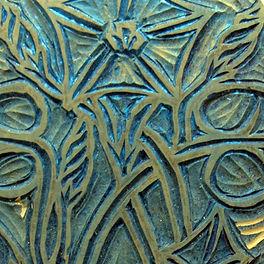 Linocut detail of morning glory