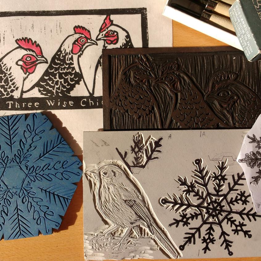 Y Christmas cards and lino printing