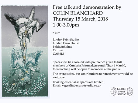 Colin Blanchard talk and demonstration, Thursday, 15 March, 1-3pm